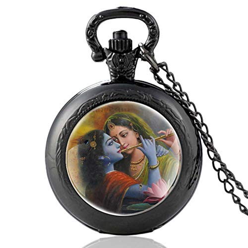 ZDANG Krishna Eternal Love Schwarz Farbe Vintage Quarz Taschenuhr Männer Frauen Anhänger Stunden Uhr N.
