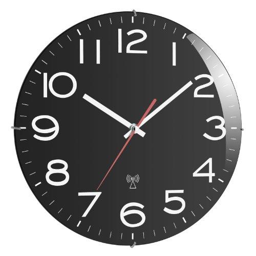 TFA Dostmann Analoge Funk-Wanduhr, Kunststoff, Schwarz, L320 x B55 x H350 mm