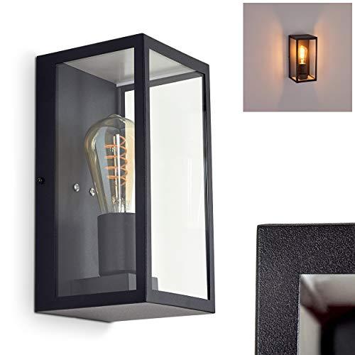 Außenwandlampe Hamra, moderne Wandaußenleuchte aus Metall/Glas in schwarz, eckige Wandleuchte mit E27-Fassungen, max. 60 Watt, Außenleuchte mit Lichteffekt für den Eingangsbereich