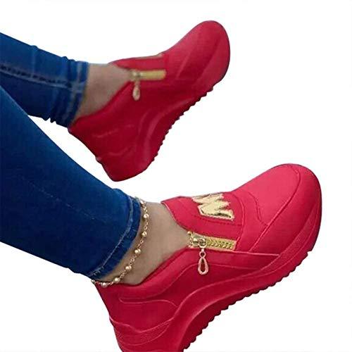 ASDFK Zapatillas deportivas para mujer, modernas, decoraciones, cómodas cremalleras, informales, transpirables, con dedos redondos, zapatos planos.
