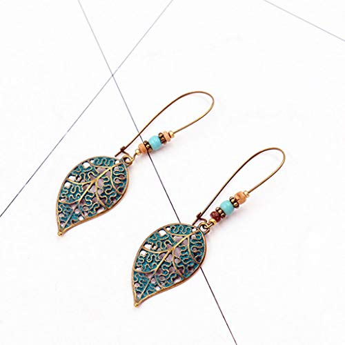 Hoxin - Orecchini pendenti a forma di foglia cava, stile vintage, elegante, idea regalo per donne e ragazze (1 paio) e acrilico., colore: Colore: rosso, cod. SD-122