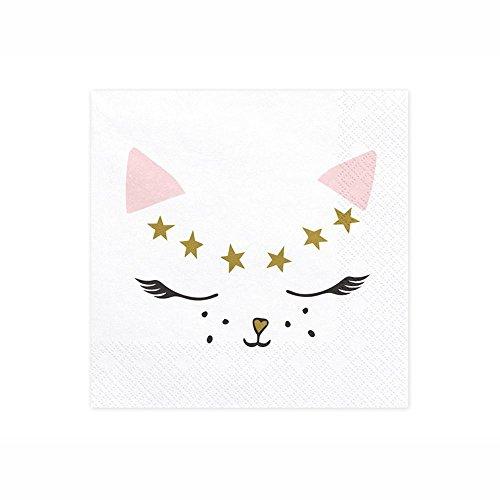 Generique - 20 Katzen-Servietten weiß 33 x 33 cm