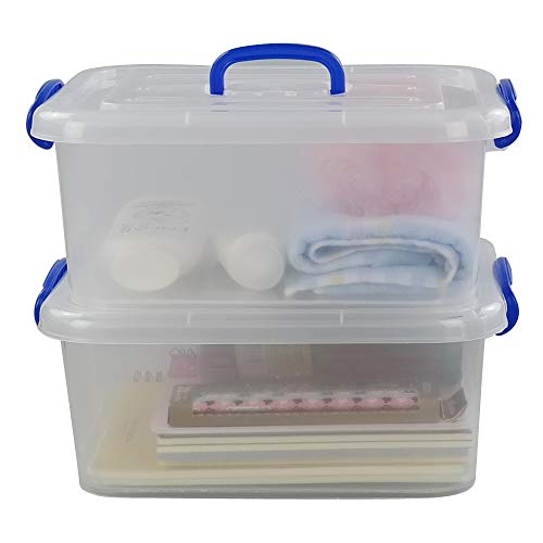 Morcte 8 Liter Clear Latching Box Plastic Storage Bin with Handle 2-Pack
