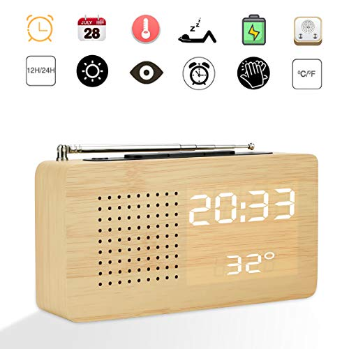 CestMall Digitale wekker, retro hout, FM-radio, LED, hout, digitale klok met tijd, datum, temperatuur, stembediening, 12/24 uur en wekfunctie voor slaapkamer, kantoor en op reis