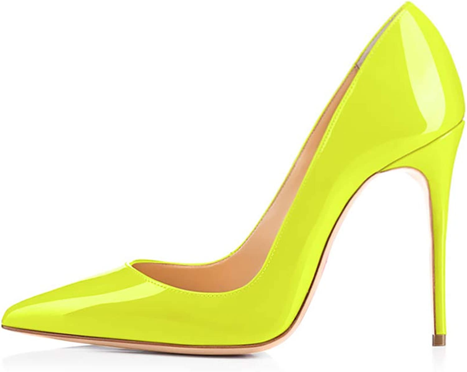 Elisabet Tang High Heels, Women Pumps shoes 3.94 inch 10cm Pointed Toe Stiletto Sexy Prom Club Heels FY 5 Neon Yellow