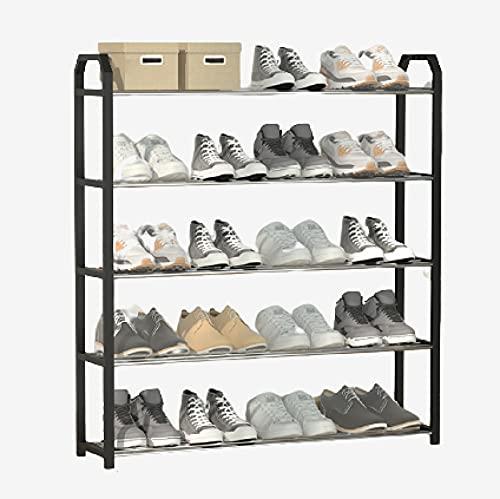 ErZhuiZi Estante para Zapatero Organizador de Estante de Soporte de Almacenamiento de Zapatos de Metal de 3/4/5 Niveles Independiente,42/56/65/75x19x43/58/73cm,Black-5F-B