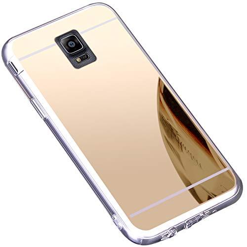 JAWSEU Compatible avec Samsung Galaxy Note 4 Coque Miroir Silicone,Cristal Brillant Bling Glitter Miroir Housse de Protection Slim Souple Gel Paillettes Strass Case pour Femme Fille,Or