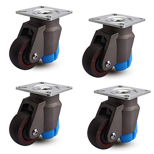 SHOP YJX Casters 4 PCS 2 Inch Heavy Duty Furniture Rubber Casters Universal Rotary Brake 50 Mm 200 Kg Silent Cart Display Black Long-term Use Horizontal Adjustment Wheel Casters
