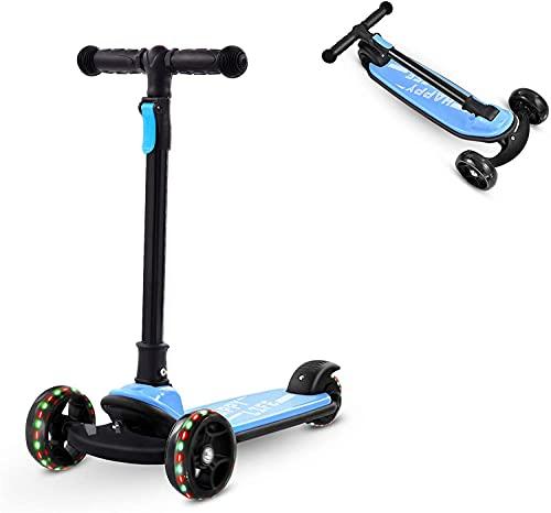 Bellanny Kinder Roller Tretroller Kinderroller mit LED Räder, ab Vorschulalter, bis 50kg, faltbar, Kickscooter Dreiradscooter Kinderscooter für Junge und Mädchen ab 2-5 Jahren Kinder