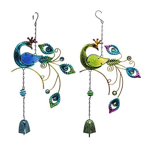 Sallyohno Garten Hängen Windspiele 1PC Kolibri Metall Wind Glockenspiel 7 Farbe Glas Anhänger Kreativ Kunsthandwerk Hängeleuchte Innen oder Draussen Deko für Garten,Terrasse, Hof (B)