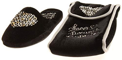 ESPRIT Damen X13222 Hausschuhe Damenhausschuhe Slipper Tasche Pailetten Schwarz EU 37
