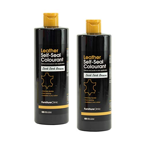 Furniture Clinic Leather Repair Paint & Dye | Self Seal Colourant for Quick and Easy Leather Repair | Suitable for Leather Sofas, Car Seat, Shoes, Handbag, and more - Dark Dark Brown (BR08) 60ml