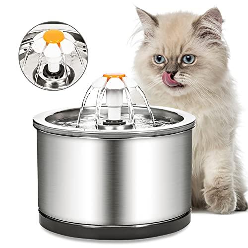 Diealles Shine Fuente para Gatos, Bebedero Gatos Muy Silenciosa 2,5 L, Fuente Gatos Acero Inoxidable con Iluminación Nocturna y Filtros