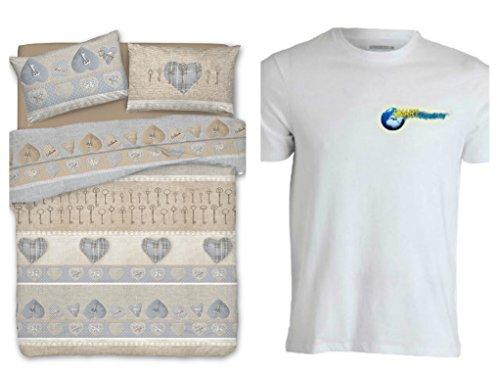 Smartsupershop Housse de Couette avec taies d'oreiller pour lit mis. 250 x 200 – Coeur Secret Beige – T-Shirt Staff – gratuites en Coton fabriqué en Italie