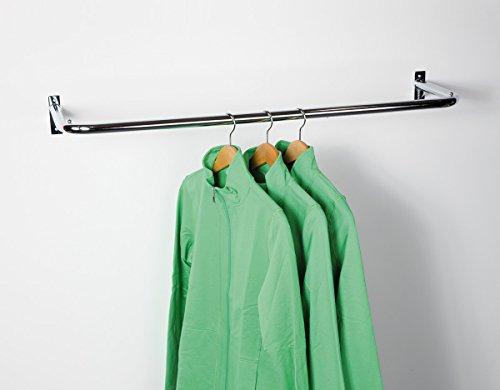 ShopDirect Konfektionsrahmen Kleiderstange zur Wandmontage Stange für Kleiderbügel L100 T30 cm - verchromt