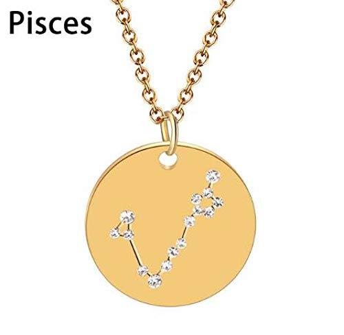 DDDDMMMY Halskette,12 Sternbild Fische Sterne Zirkon Crystal Astrologie Sternzeichen Kette Frauen Schmuck Horoskop-Zeichen Gold Halskette