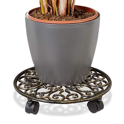 Relaxdays Porte-plantes rond à roulettes en fonte aluminium support pot de fleurs 4 roues 33,5 cm diamètre plateau métal design style antiquités stable et résistant, bronze