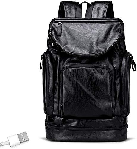 tgbnh Zaino, Zaino da Viaggio Backpack Business Bag Week-End Weekend Bagaglio USB Cuffia Jack Shoe Indipendente Magazzino retrò Impermeabile indossabile (Color : Black)