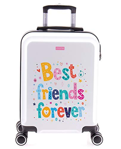 imome Cool Maleta de Cabina Juvenil Best Friends Forever 55x40x20 cm   Equipaje de Mano, Trolley de Viaje Ryanair, Easyjet   Maleta de Viaje Blanca Rígida Divertida Mejores Amigas para Siempre
