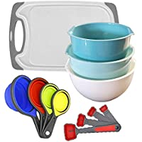 12-Piece CONTROL KITCHEN Colorful Nesting Mixing Bowls Measuring Cups, Spoons & Cutting Board Set