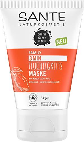SANTE Naturkosmetik 3 Min Feuchtigkeits Maske Bio-Mango & Aloe Vera, Intensive Haarkur, Repariert und nährt strapaziertes Haar, Schenkt Feuchtigkeit, Verbesserte Kämmbarkeit, Vegan, 100ml