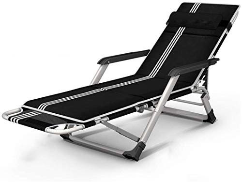 Lounge-Sessel Recliner-Stuhl-Hochleistungs-Folding Campingbettbett, Erwachsene / Kinder tragbares Bett mit Tragetasche für Camping Home Office, Support 200kg (Farbe: Schwarz, Größe: ohne Kissen)