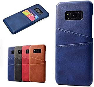 Protective Case Compatible with Samsung Premium PU Leather Wallet Anti-Scratch Protective Back Case with Card Slots Compatible Samsung Galaxy S8 Phone case (Color : Blue)