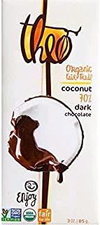 Toasted Coconut Organic Dark Chocolate 70% Cacao 3 Ounces (Case of 12)