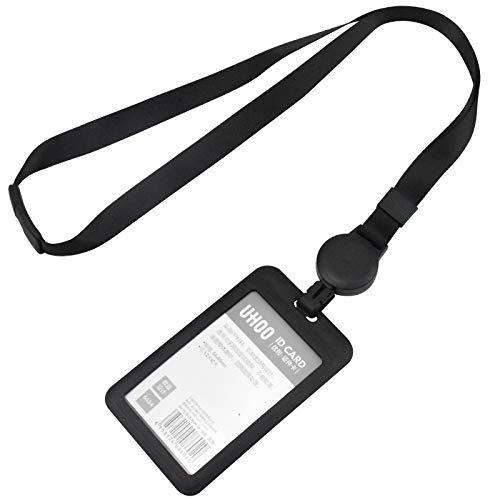 Skyzone Tarjetero de plástico con cordón para el cuello, negro, para tarjeta de identificación, cordón retráctil y tarjetero para oficina, escuela, viaje de negocios, hombre, mujer