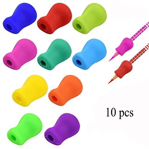 Bleistiftgriffe Schreibhilfe für Stift Kinder Stifthalter Ergonomische Schreibhilfe für Stift Bleistift Halter 10 Stück Silikon Stift Griffe für Kinder Erwachsene Haltungskorrektur