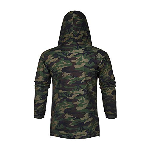Men Sports Hooded Splice Pullover Hoodie with Mask Casual Vest Lightweight Sleeveless/Long Sleeve Hooded Sweatshirts Green Camouflage