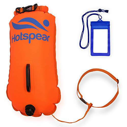 Hotspear Boya De Natación para Aguas Abiertas con Bolsa Estanca, con Dos Cámaras de Aire Rapido de inflar y desinflar Swimming Dry Bag Buoy (Clasica 28 litros)