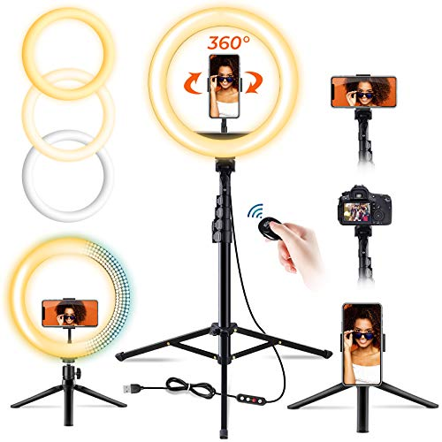 """10"""" Selfie Ring Light with Tripod Stand & 2 Phone Holders for Live Stream/Makeup, Elvana Dimmable Beauty Camera Ringlight with Desktop Tripod for YouTube Video/TikTok, Compatible with iPhone/Android……"""