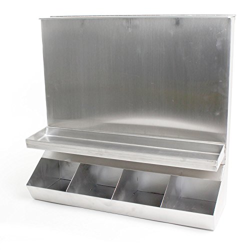 4-Compartment All-Stainless-Steel Commercial Condiment Dispenser with Hinged Lid for Top Loading