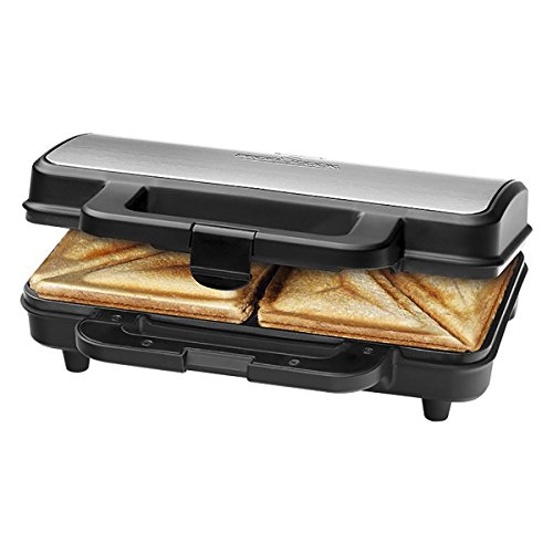 ProfiCook PC-ST 1092 Sandwichera para 2 sándwiches grandes americanos, 900 W, Acero Inoxidable/Negro
