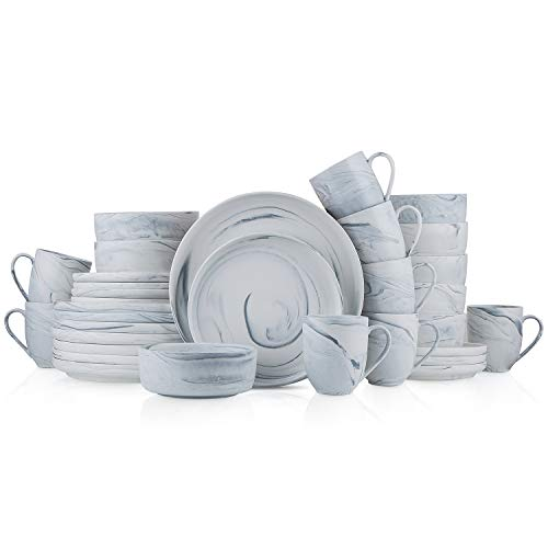 Stone Lain Marble Fine China Dinnerware Set 32 Piece Service for 8 Matte Gray