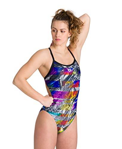 ARENA Damen Challenge Back MaxLife One Piece Athletic Training Swimsuit Einteiliger Badeanzug, schillernde Streifen Schwarz Multi, 36