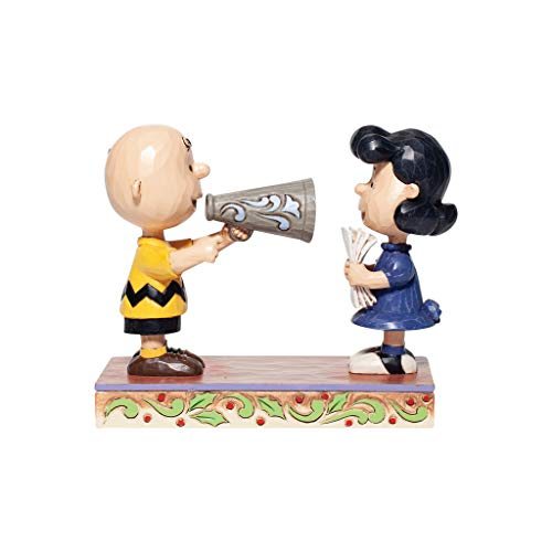 Enesco Jim Shore Peanuts Christmas Pageant Charlie Brown and Lucy Directors Figurine, Multicolor