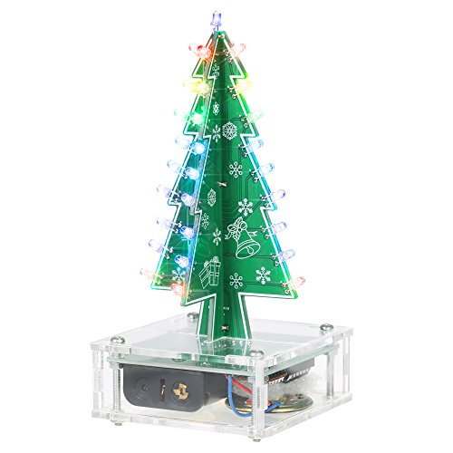 KKmoon DIY Colorful Easy Making LED Light Acrylic Christmas Tree with Music Electronic Learning Kit Module