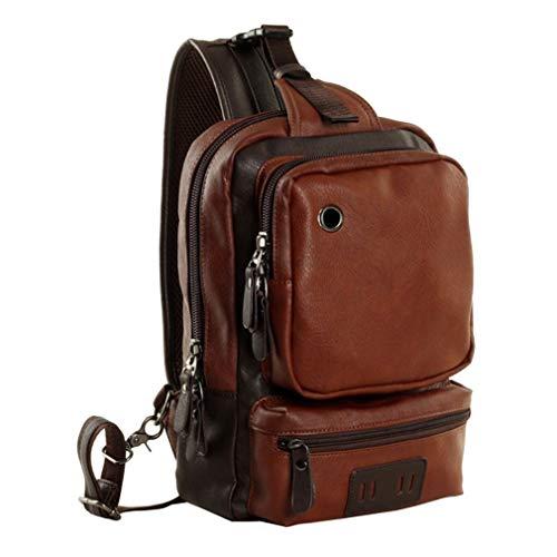 JIE Men Outdoor PU Leather Satchel Bag Chest Bag Crossbody Single Shoulder Bag Brown