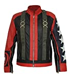 HLS U2 Bono 5 Stars on Sleeves Stylish Faux Leather Jacket (5XL) Red Black