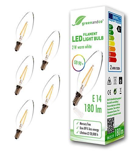 5x greenandco® CRI90+ Glühfaden LED Lampe ersetzt 19 Watt E14 Kerze, 2W 180 Lumen 2700K warmweiß Filament Fadenlampe 360° 230V AC nur Glas, nicht dimmbar, flimmerfrei, 2 Jahre Garantie