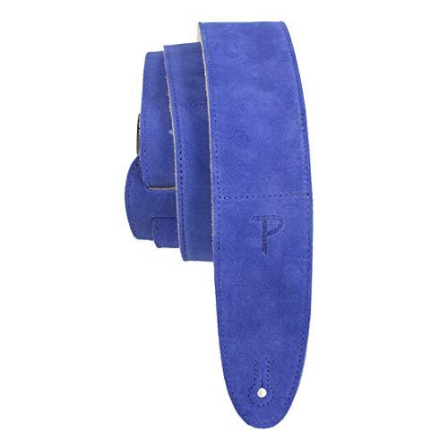 Perri's Leathers - Correa de gamuza suave con respaldo y almohadilla de piel de oveja, 2.5 pulgadas de ancho, longitud ajustable de 43 a 56 pulgadas, azul real