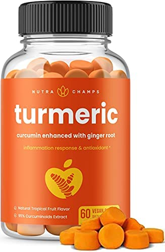 Turmeric Curcumin with Ginger Gummies – Natural, Vegan, Chewable Gummy Vitamin Supplement for Adults & Kids [Premium 95% Curcuminoids] Joint Support, Pain Relief, Anti-Inflammatory, Antioxidant Chews