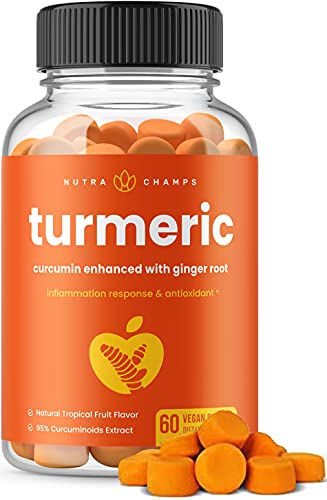 Turmeric Curcumin with Ginger Gummies - Natural, Vegan, Chewable Gummy Vitamin Supplement for Adults & Kids [Premium 95% Curcuminoids] Joint Support, Pain Relief, Anti-Inflammatory, Antioxidant Chews