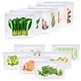 Reusable Sandwich Bags & Snack Lunch Bags, LYSLEDa Food Grade BPA Free Eco-Friendly Extra Thick Leakproof Ziplock Freezer Storage Bag for Lunch, Fruits, Travel and Home Organization(12 Packs)