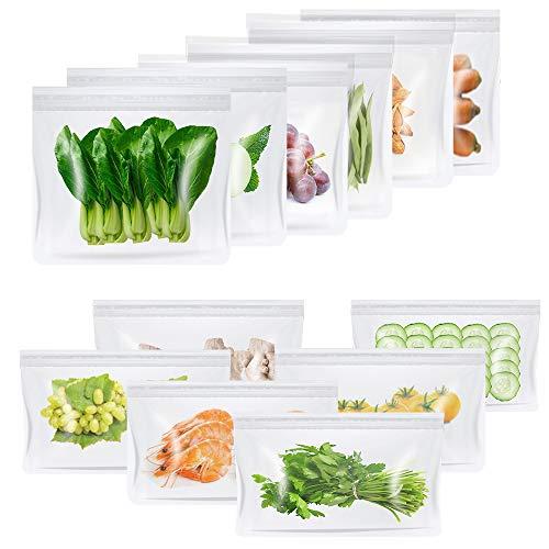 LYSLEDA Sandwich Tasche, Koch Beutel Küche Beutel, Lebensmittel Beutel, Kühltaschen Mittagessen, Wiederverwendbare aus Silikon, ohne BPA, für Hause Obst, Gemüse, Milch, Snacks, Fleisch,12er-Pack
