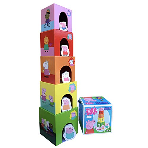 Barbo Toys Peppa Wutz Spielzeug Stabelturm für Kinder | Motorikspielzeug ab 2 Jahre für Hand-Augen-Koordination und Fingermotorik | Offiziell Lizenziert von Peppa Pig