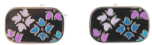 David Van Hagen Bleu/Violet / Noir Floral émail boutons de manchette de