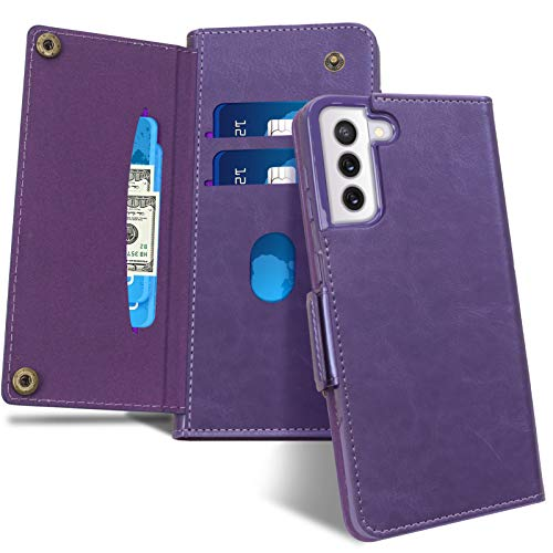"FYY Case for Samsung Galaxy S21 Plus 5G 6.7"", [Magnetic Closure] Luxury Leather Wallet Case Flip Folio Cover with [Front Card Slots] for Galaxy S21 Plus 5G Purple"